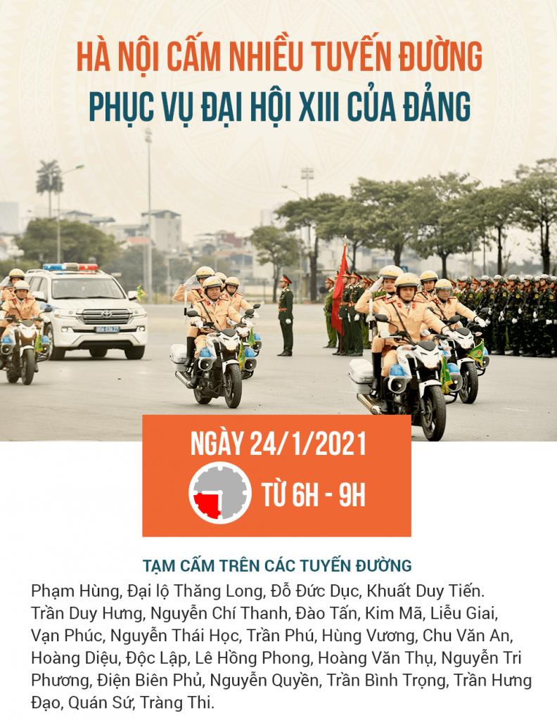 Sơ đồ cấm hơn 20 tuyến đường phục vụ Đại hội Đảng XIII kinhtetrithuc.vn