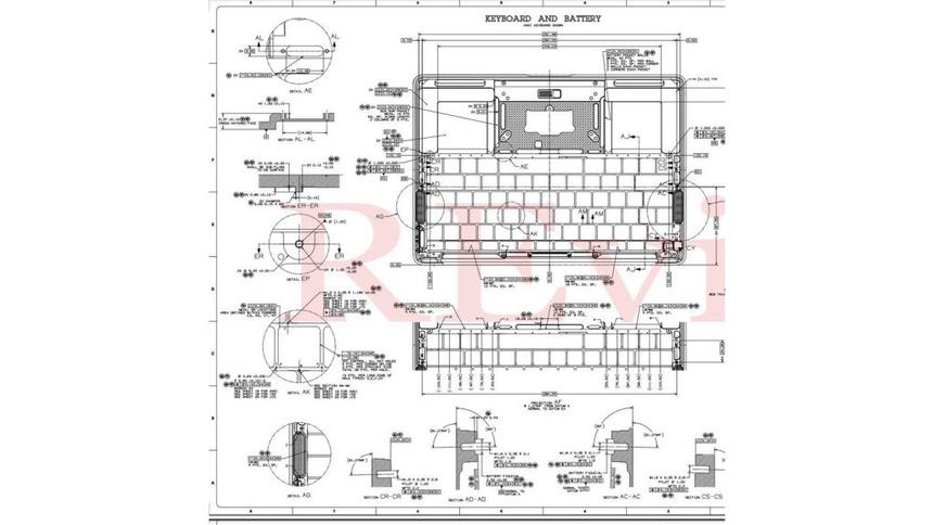 Bản vẽ kỹ thuật của MacBook Air và MacBook Pro được nhóm hacker tiết lộ. Ảnh: 9to5mac.